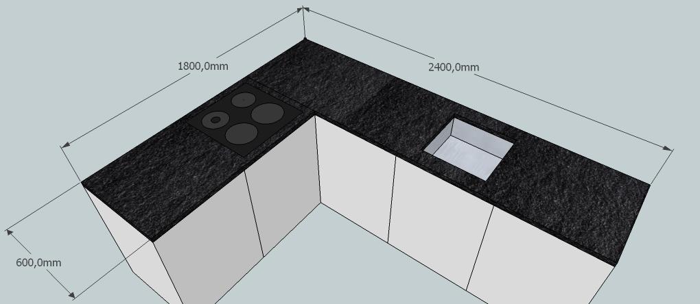 Vzorova kuchyne NERO ASSOLUTO ANTIC